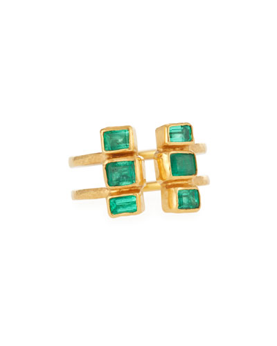 24k Gold Double Stacked Ring w/ Emeralds, Size 6.5
