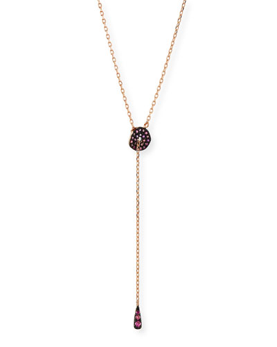 Adjustable Circlet Lariat Necklace in 14K Rose Gold with Pink Diamonds