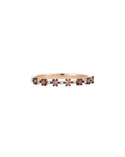 Flowerette Stacking Ring in 14k Rose Gold with Pink Diamonds, Size 7