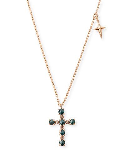 14k Small Diamond Cross & Star Pendant Necklace