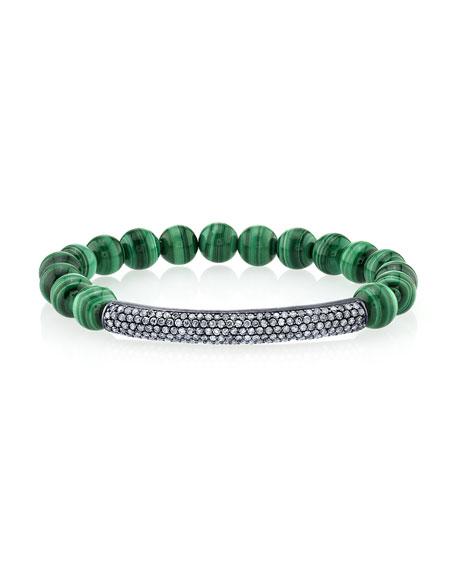 8mm Malachite & Diamond Bar Bracelet