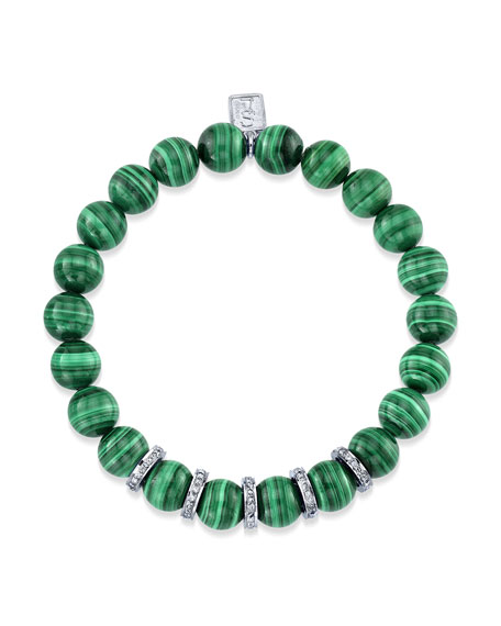 8mm Malachite & Diamond Bead Bracelet