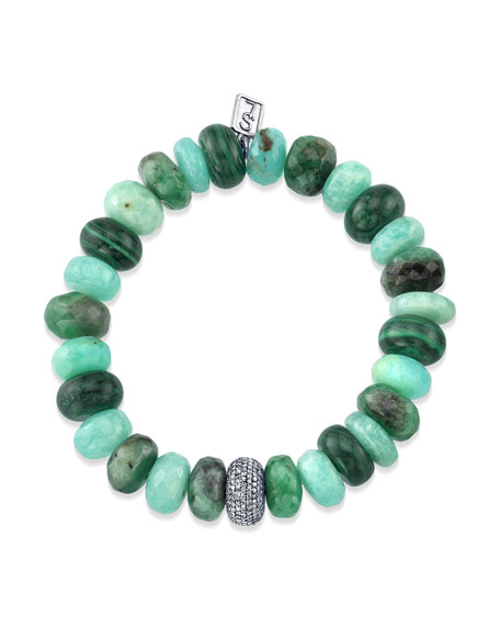 12mm Green Mixed Bracelet w/ Diamond Donut