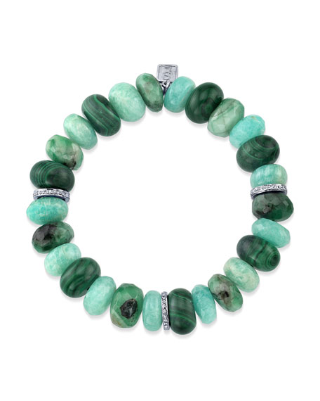 12mm Green Mixed Bracelet w/ Diamonds
