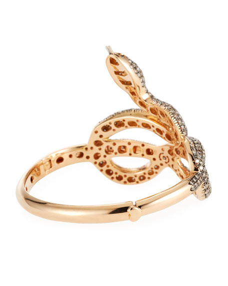 18k Gold Cognac Diamond Snake Bangle Bracelet