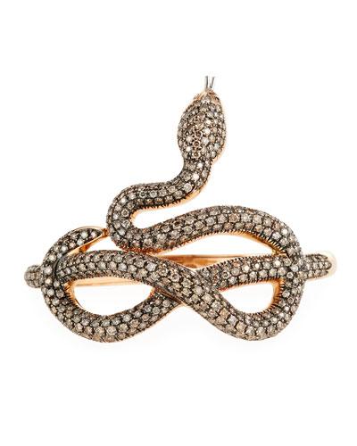 18k Gold Cognac Diamond Snake Bangle Bracelet
