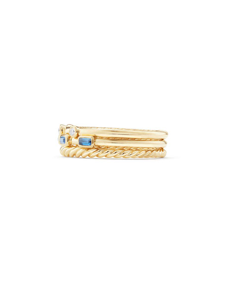 Novella 18k Three-Row Ring with Light Blue Sapphires & Diamonds, Size 9