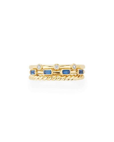 Novella 18k Three-Row Ring with Light Blue Sapphires & Diamonds, Size 9
