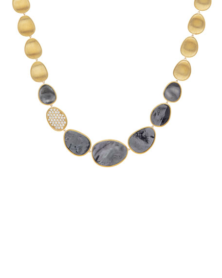 Lunaria 18k Gold Collar Necklace with Black Mother-of-Pearl & Diamond