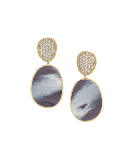 Lunaria Large Drop Earrings with Black Mother-of-Pearl & Diamonds, 1.06 tdcw