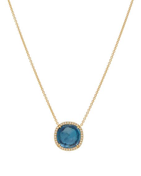 Jaipur 18k Blue Topaz & Diamond Pendant Necklace