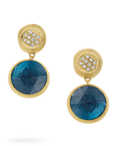 Marco Bicego Jaipur Drop Earrings with London Blue Topaz & Diamonds