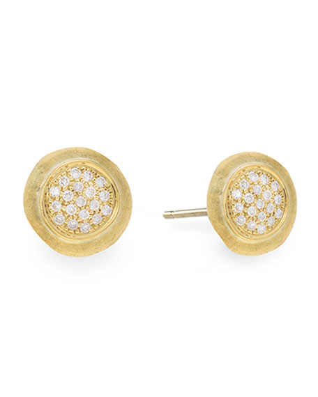 Jaipur 18k Yellow Gold Stud Earrings w/ Pave Diamonds