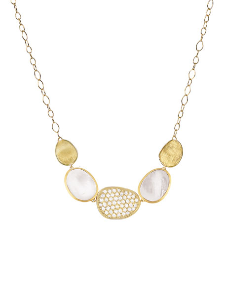 18k Lunaria Triple Mixed Necklace