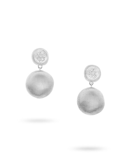 Delicati 18k Round Drop Earrings w/ Pavé Diamonds