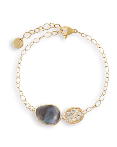Lunaria Two-Pendant Bracelet with Black Mother-of-Pearl & Diamonds