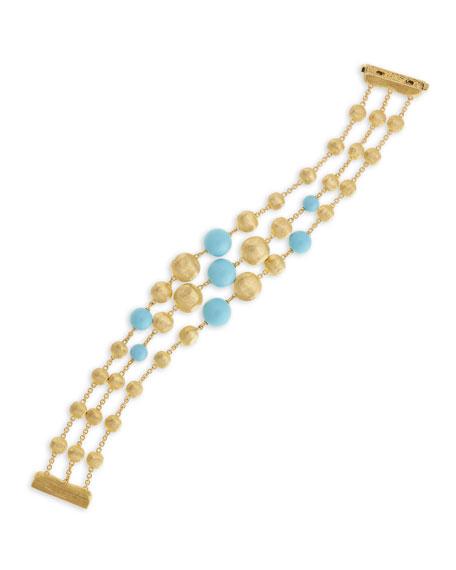 18k Turquoise Triple-Row Bracelet