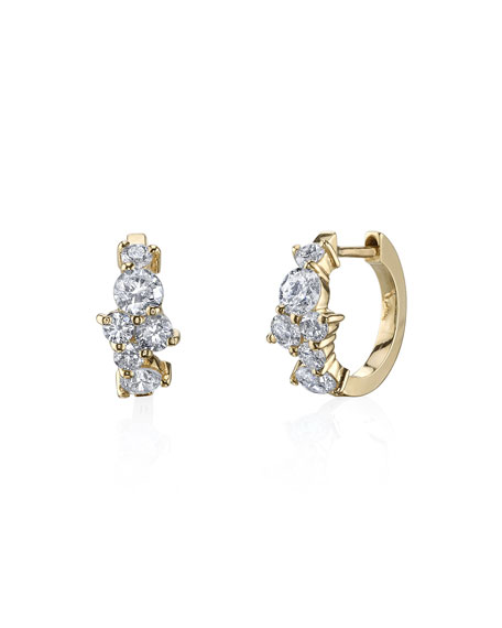 Cocktail 14k Diamond Huggie Hoop Earrings
