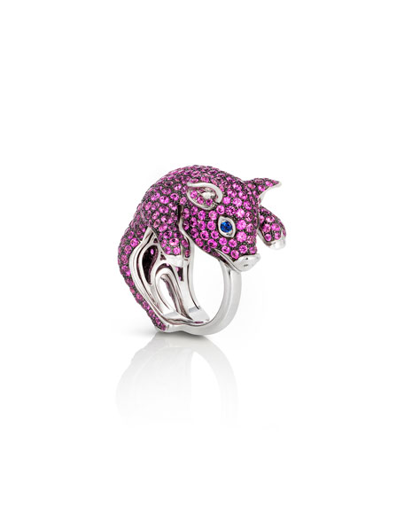 18k Sapphire Pave Pig Ring, Size 6.5