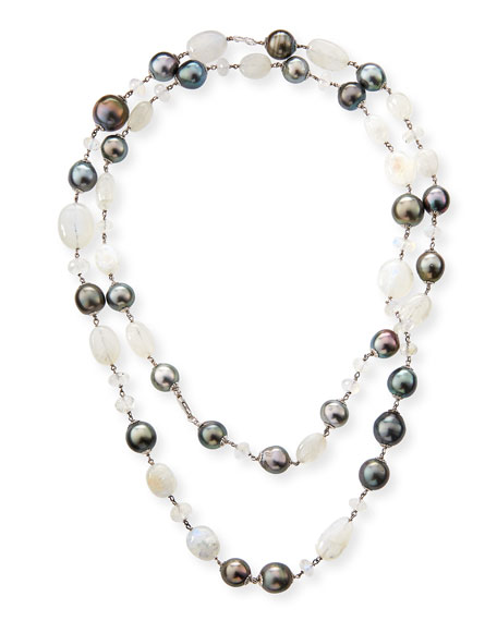 18k Moonstone & Pearl Necklace