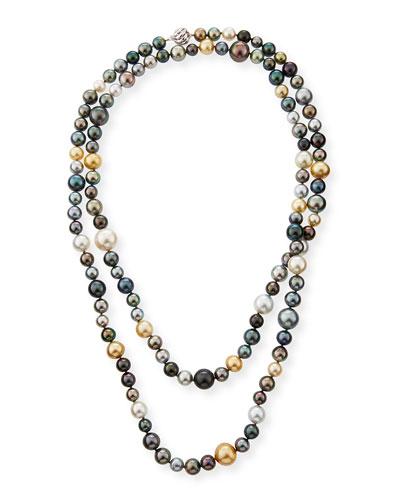 18k Long Multicolor Pearl Necklace, 50