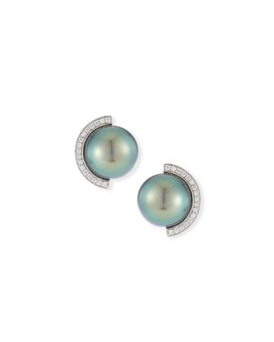 18k Diamond Half-Halo Pearl Stud Earrings