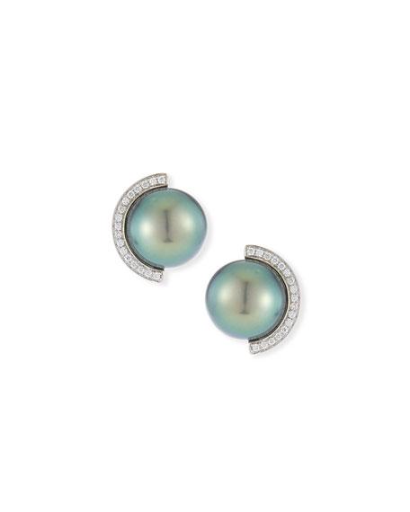 Armenta Blue Pietersite Doublet Stud Earrings with Diamonds OJaLN