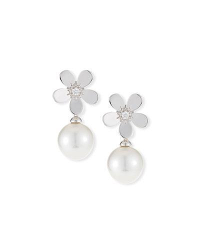 18k Diamond Daisy Pearl Drop Earrings