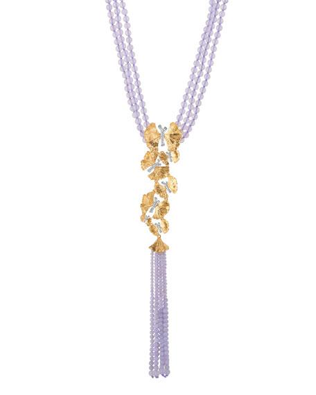 Michael Aram Butterfly Ginkgo Lariat Necklace w/ Chalcedony