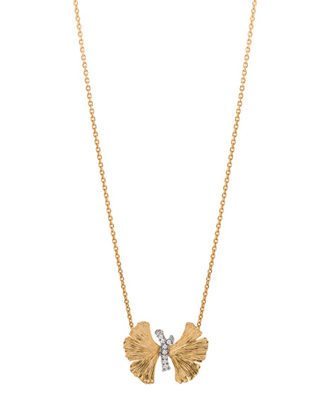 Butterfly Ginkgo Silver & Gold Pendant Necklace w/ Diamonds