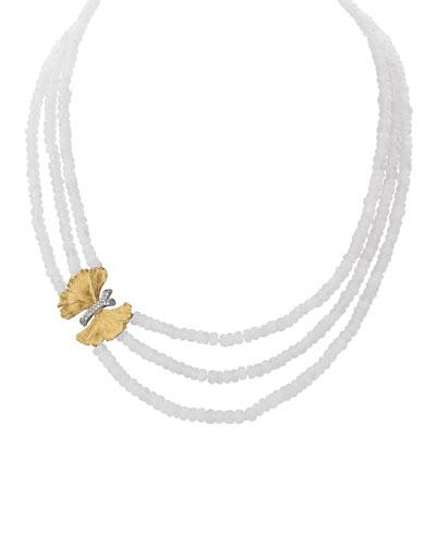 Butterfly Ginkgo Triple-Strand Necklace w/ Moonstone