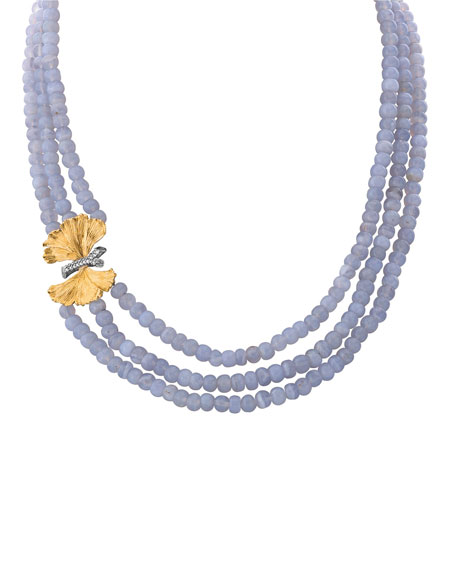 Butterfly Ginkgo Triple-Strand Necklace w/ Chalcedony