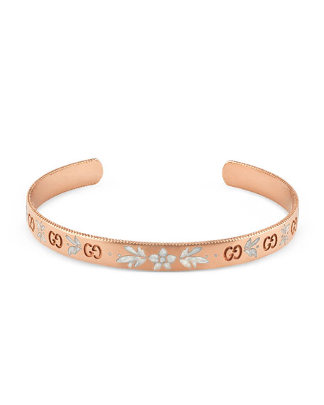 18k Gold Icon Bangle w/ White Enamel