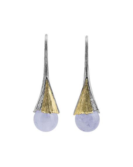 Butterfly Ginkgo Leaf Drop Earrings w/ Chalcedony