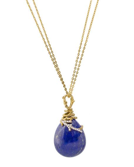 18k Enchanted Forest Wrap Necklace w/ Lapis & Diamonds