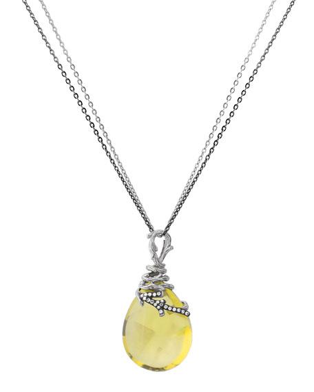 Enchanted Forest Wrap Necklace w/ Lemon Quartz & Diamonds