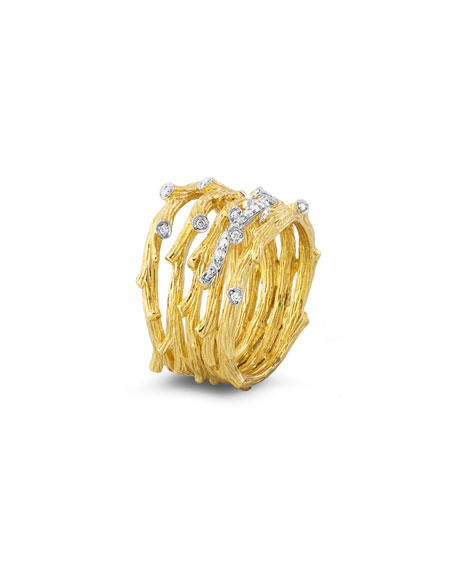 18k Enchanted Forest Multi-Row Ring w/ Diamonds
