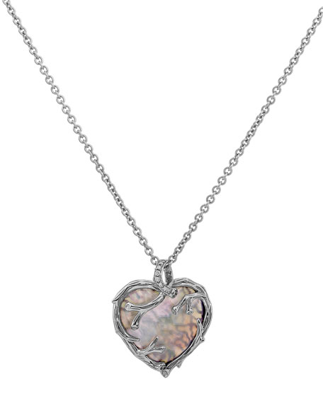 """Enchanted Forest Twig Heart Necklace w/ Mother-of-Pearl, 18"""""""