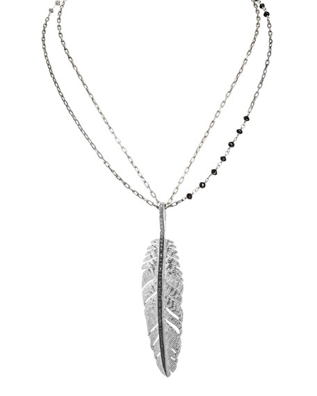 Michael Aram Feather Pendant Necklace w/ Diamonds