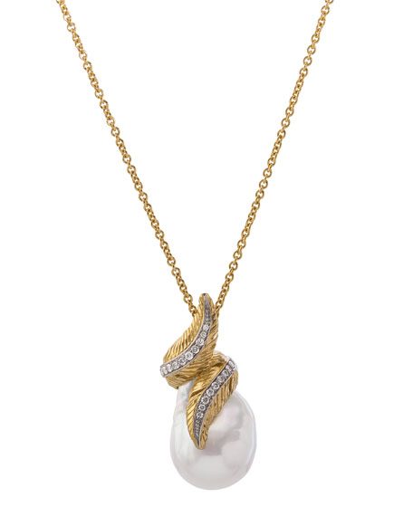 18k Feather Wrap Necklace w/ Pearl & Diamonds