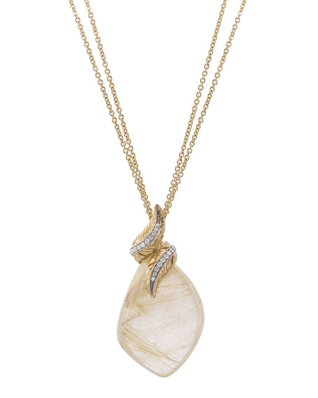 18k Feather Wrap Necklace w/ Quartz & Diamonds