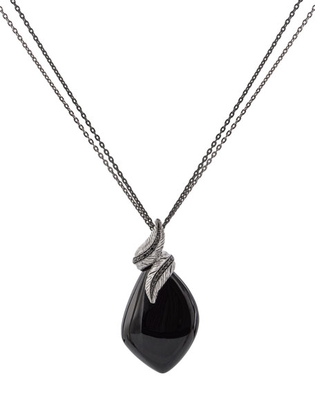 Feather Wrap Necklace w/ Onyx & Diamonds