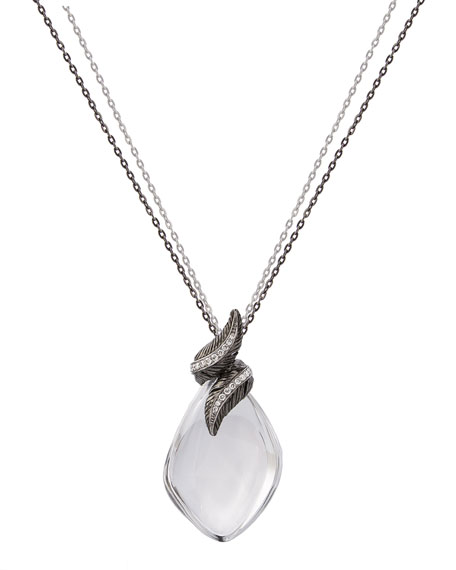 Feather Wrap Necklace w/ Crystal & Diamonds