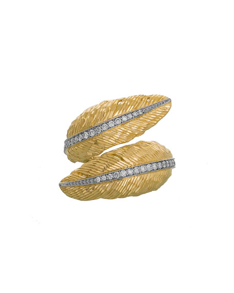 18k Feather Bypass Ring w/ Diamonds