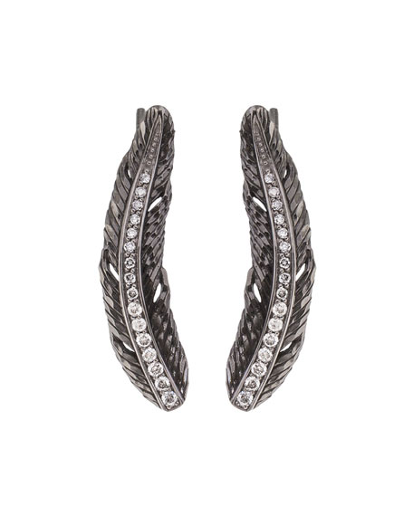 Feather Vine Earrings w/ Diamonds