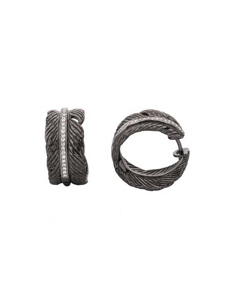 Feather Hoop Earrings w/ Diamonds
