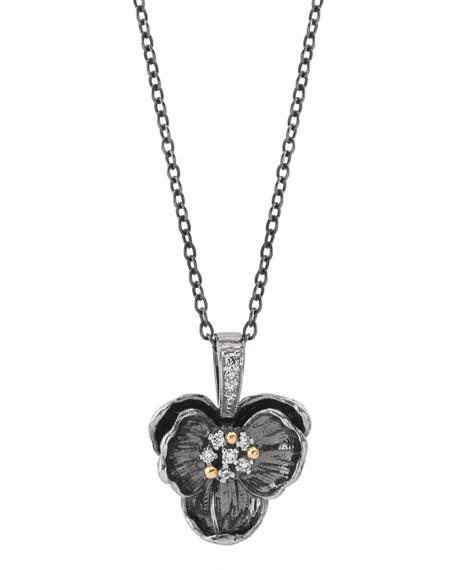 Michael Aram Black Medium Orchid Pendant Necklace w/ Diamonds T2v1Nc