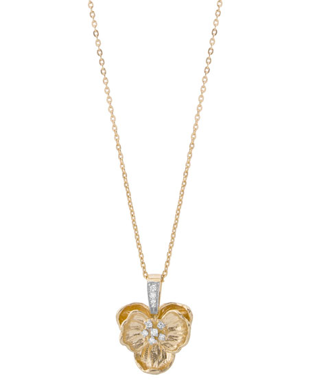 18k Medium Orchid Pendant Necklace w/ Diamonds