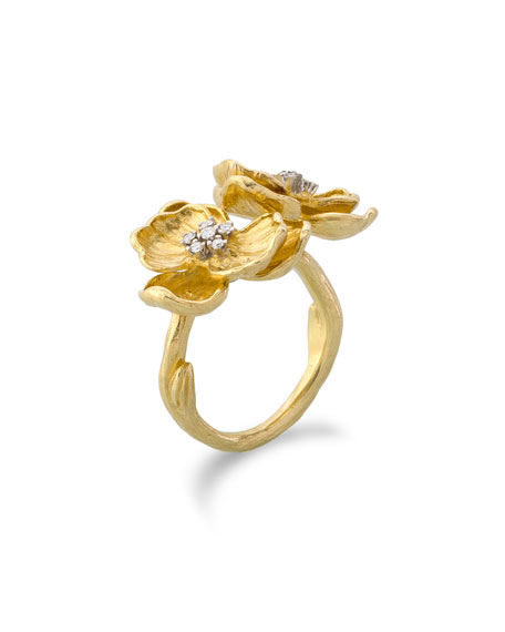 18k Double Orchid Ring w/ Diamonds
