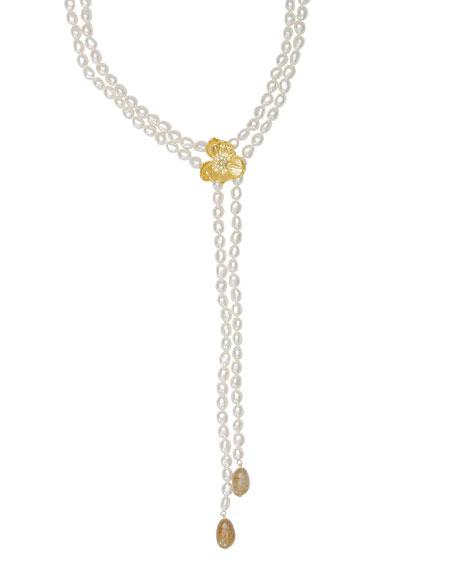 Michael Aram Botanical Leaf Pearl Lariat Necklace w/ Topaz gHJoJiQ